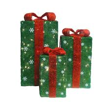 lighted gift boxes christmas decorations set of 3 outdoor lighted christmas presents