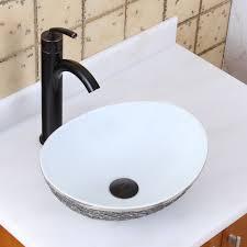 elite 1574 oval gray and white porcelain ceramic bathroom vessel