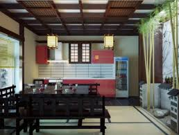 home design red black japanese inspired kitchen dining room with