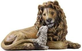 lion figurine joseph studio lion and laying together religious