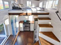tiny house stair storage interior view mobile tiny house interior