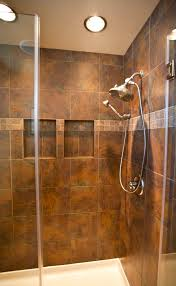 master bath shower in a slate look porcelain tile design by
