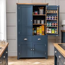 large kitchen storage cupboards westbury blue painted large kitchen larder pantry cupboard