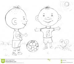 drawing of a boy is playing football drawing sketch library