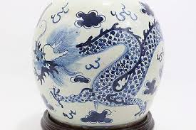 vintage style blue and white dragon motif porcelain ginger jar