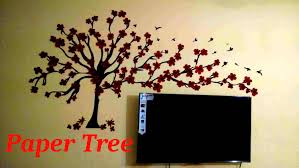 decorating exciting tree paper wall art on beige paint wall for