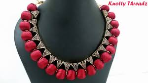 pink coloured beads necklace images How to make an elegant silk thread bail necklace simple method jpg