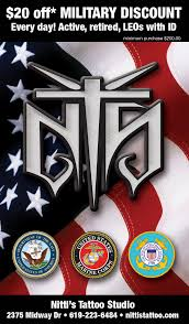 20 off military discounts at all nittis tattoo locations