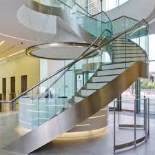 Glass Banisters U Channel Stringer Design Frameless Glass Balustrade Curved Stair