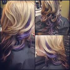 short hairstyles with peekaboo purple layer purple hair color ideas shades of purple curly blonde