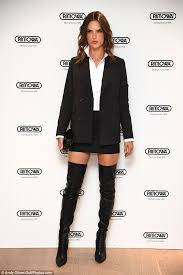 womens boots secret alessandra ambrosio wears mini and thigh high boots at bash