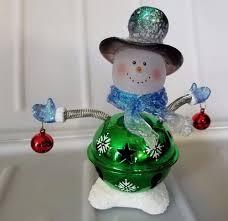 bellies jingle bell snowman glass bobblehead figure