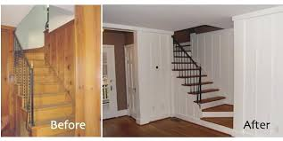 painting paneling in basement paneled walls before and after basement painting half wall wood