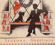 1054 30s deco scottie vintage greeting card