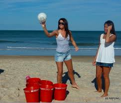 Backyard Drinking Games Play Super Sized Beer Pong With Buckets And Volleyball Size Ping