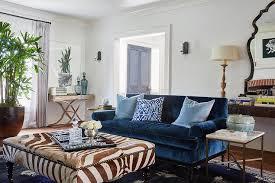 Living Room Blue Sofa Blue Velvet Roll Arm Sofa With Sky Blue Pillows