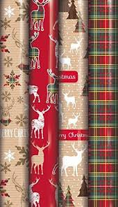 Amazon Uk Gift Wrap - 4 x 6m rolls of christmas gift wrapping paper traditional tartan