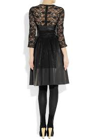 Leather And Lace Clothing Mulberry Paneled Leather And Lace Dress In Black Lyst