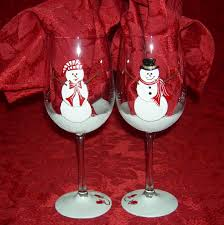 christmas glasses snowman painted wine glasses christmas winter