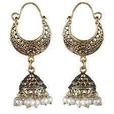 gold jhumka hoop earrings biyu gold plated oxidized ethnic pearl jhumka jhumki metal hoop