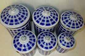 set of 6 blue u0026 white plaid vintage french enamel kitchen