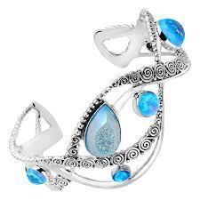 blue opal sajen natural pariba druzy u0026 blue opal doublet cuff bracelet in