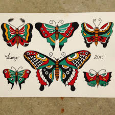 sailor jerry inspired butterflies tattooflash traditionaltattoo