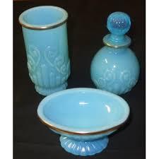 Blue Glass Bathroom Accessories Avon Bristol Blue Glass Opalescent Bathroom Set Dice Lady U0027s Deals
