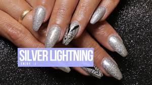 acrylic nail design silver lightning youtube