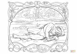 the death of thor and jörmungandr coloring page free printable