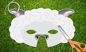 white lamb sheep printable party mask easter pdf lamb
