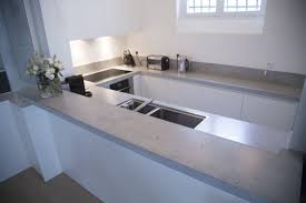 modern kitchen concrete countertops countertops two holes faucet double handles on white cabinet with