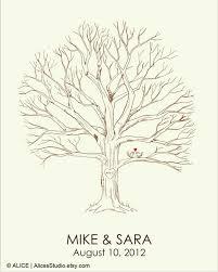 canvas wedding tree guest book u2013 hand drawn fingerprint tree print