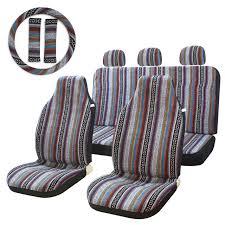 10pc stripe multi color seat cover baja saddle blanket weave