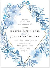blue wedding invitations poetic blue customizable wedding invitations in blue or white