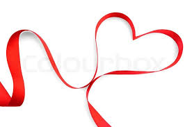 heart ribbon heart ribbon bow isolated on white background stock photo