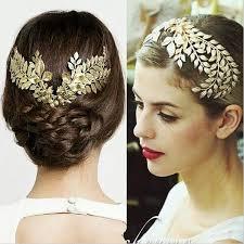 bridal headwear baroque tiara vintage gold leaf hair accessories bridal headpieces