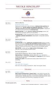 Resume Template For Server Position Barista Resume Sles Visualcv Resume Sles Database
