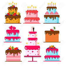 wedding invitation clown birthday greeting card vector show clowns vector color flat background with cake set icons cake