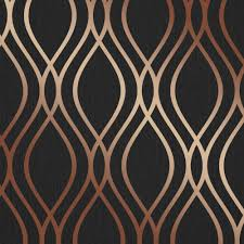 henderson interiors camden wave wallpaper charcoal copper