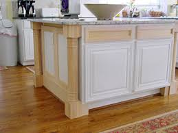 installing kitchen island legs and trim added to an existing island furniture cabinets
