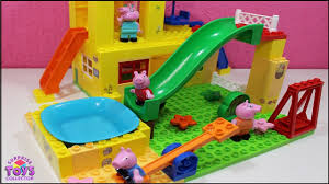 House With Swimming Pool Peppa Pig House With Swimming Pool And Water Slide Building