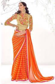 color designer orange color designer georgette saree with blouse from kalaniketan com