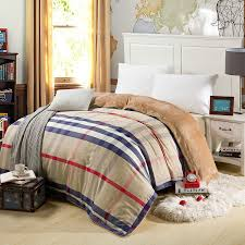 luxury bedding linen quilt covers winter plaid warm cotton bed