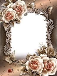 beautiful photo frame template psd file with roses and