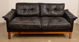 Danish Mid Century Modern Sofa by Mid Century Black Tufted Leather Loveseat Danish At 1stdibs