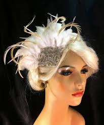 1920s hair accessories bridal fascinator feather fascinator 1920s deco bridesmaid