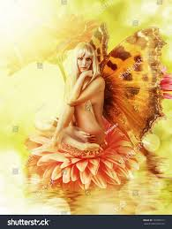 Beautiful Fairies by Beautiful Fairy Wings On Flower Water Stock Photo 133783217