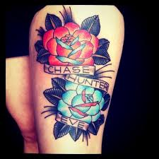 roses and anchor thigh design idea for and