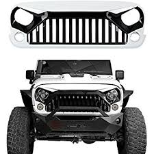 white jeep rubicon amazon com front grille glossy white gladiator vader for jeep